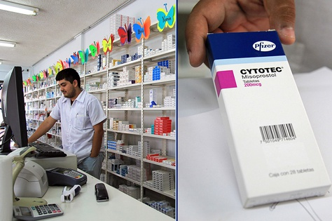 A pharmacy employee in Nuevo Progreso, Tamaulipas, holds a box of Cytotec. The medication is intended to treat ulcers but has been used by women as an abortion pill.