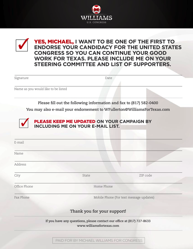 Michael Williams Endorsement Form