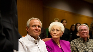 Michael Morton sits beside his mother, Patricia Morton, during an emotional press conference after a judge agreed to release him on personal bond after he spent nearly 25 years in prison for the murder of his wife.