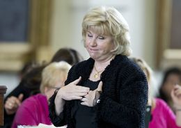 Sen. Jane Nelson, R-Flower Mound, reacts to her selection in the Senate term lottery on Jan. 23, 2013.