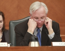 Senate Finance Chairman Steve Ogden (R-Bryan) looks grim while he peruses Senate Bill 1 on January 31, 2011.