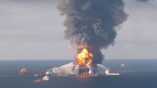 A photo of the Deepwater Horizon Fire in the Gulf of Mexico on April 22, 2010.