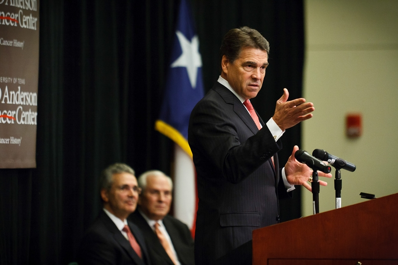 Gov. Rick Perry, on Nov. 28, 2011, at the announcement of the Institute for Applied Cancer Science to be run at the University of Texas MD Anderson Cancer Center in Houston.