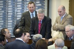 Republican State Reps.  Byron Cook (l), R-Corsicana, Burt Solomons (c), R-Carrollton, and Dennis Bonnen, R-Angleton, listen to a point of order on HB12 sanctuary cities bill on May 6, 2011.