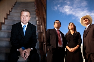 Tom Brown, the founder and pastor of Word of Life Church (left) and El Paso city Reps. Steve Ortega and Susie Byrd and Mayor John Cook (right).