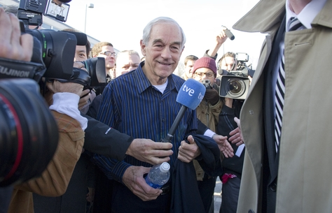 U.S. Rep. Ron Paul leaving Valley High School after a Rock the Caucus event in Des Moines on Jan. 3, 2012, the day of the Iowa caucuses.