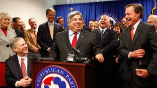 State Rep. Aaron Pena, R-Edinburg, at the Texas Republican Party headquarters Dec. 14, after announcing he switched parties.