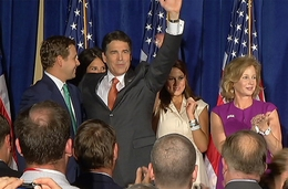 Governor Perry on stage with his family after announcing his run for the 2012 presidency.
