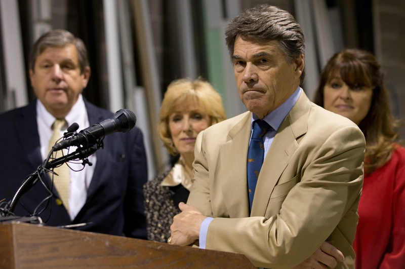 Nov 13, 2012 - Texas Gov. Rick Perry and Lt. Gov. David Dewhurst hold a press conference on proposed legislation regarding drug testing for state benefit recipients at Austin Glass and Mirror in east Austin.