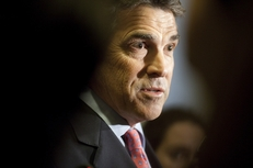 Gov. Rick Perry outside the House chamber on May 28, 2011.