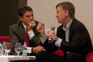 September 14th, 2012: Texas Gov. Rick Perry with Colorado Gov. John Hickenlooper, discuss economic development at the Devner Metro Chamber Leadership Foundation's 2012 Leadership Exchange in Austin, Texas