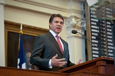 Gov. Rick Perry delivering his State of the State address on Feb. 8, 2011