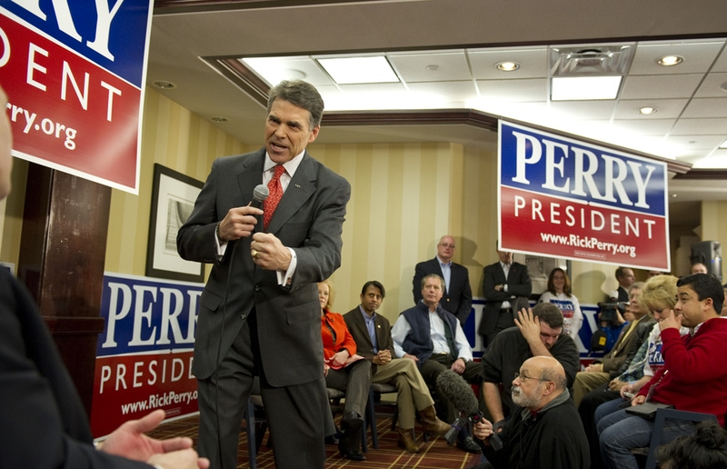Gov. Rick Perry at a rally on the morning of the Jan. 3, 2012, Iowa caucuses.