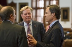 Rep. Jim Pitts (R-Waxahachie) listens to House Speaker Joe Straus (r) on March 2, 2011