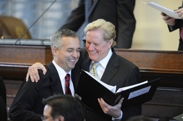 Rep. Jim Pitts (r), R-Waxahachie, laughs with Rep Dwayne Bohac (l), R-Houston, during debate on HB4 on March 31, 2011.