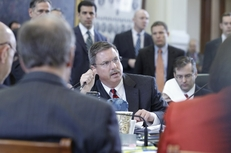 ERCOT's Trip Doggett testifies at the joint Senate hearing on power outages on February 15, 2011