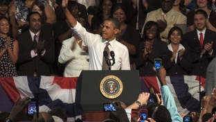 President Obama rallies support for the American Jobs Act at Eastfield College in Mesquite on Oct. 4, 2011.