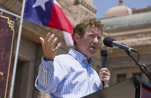 U.S. Sen. Rand Paul of Kentucky, son of Republican candidate Ron Paul, speaks to a Tea Party crowd Sunday May 6, 2012 at the Texas Capitol.