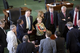 Republican Senators gather on the floor awaiting sine die as no agreement is reached on SB1811 on May 30, 2011.