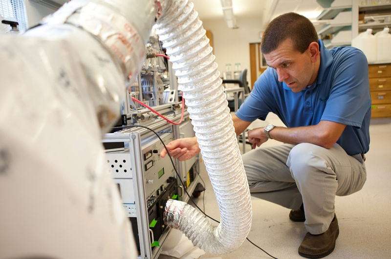 Robert J. Griffin, a soot expert at Rice University in Houston, in his on-campus lab on Wednesday, June 20, 2012.
