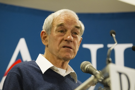 Republican candidate Ron Paul speaks to an overflow crowd at the Holiday Inn in Rock Hill, S.C. on January 17, 2012.