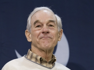 Ron Paul at a Charleston, S.C. airport rally the day before the state's Republican primary on Jan. 20, 2012.