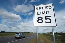 The 85 mph speed limit on a portion of the SH 130 toll road between Austin and Seguin is the highest speed limit in the nation.