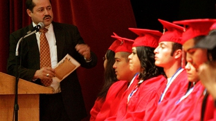 Pharr-San Juan-Alamo Independent School District superintendent Daniel King speaks to graduates from Options High School, College Career & Technology Academy and Teen-Age Parenting Program High School during their graduation ceremony December 16, 2010 at the San Juan Middle School Auditorium in San Juan, Texas.