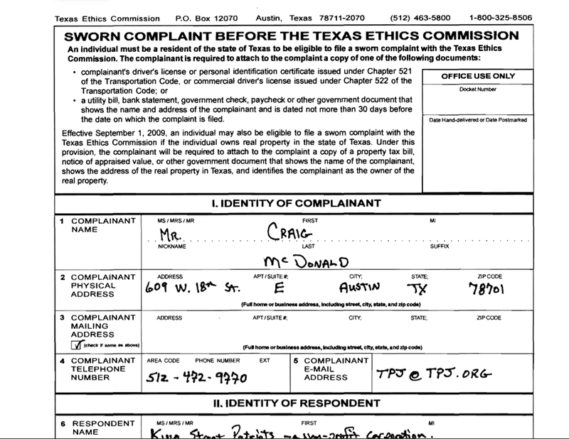 A complaint filed with the Texas Ethics Commission.