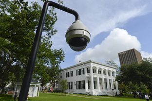 A security camera keeps watch on the newly-restored Texas Governor's Mansion on July 18, 2012.