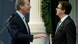 State Sen. Dan Patrick (Right), R-Houston, listens to Lt. Gov. David Dewhurst during the 83rd legislative session on Jan. 9, 2013.