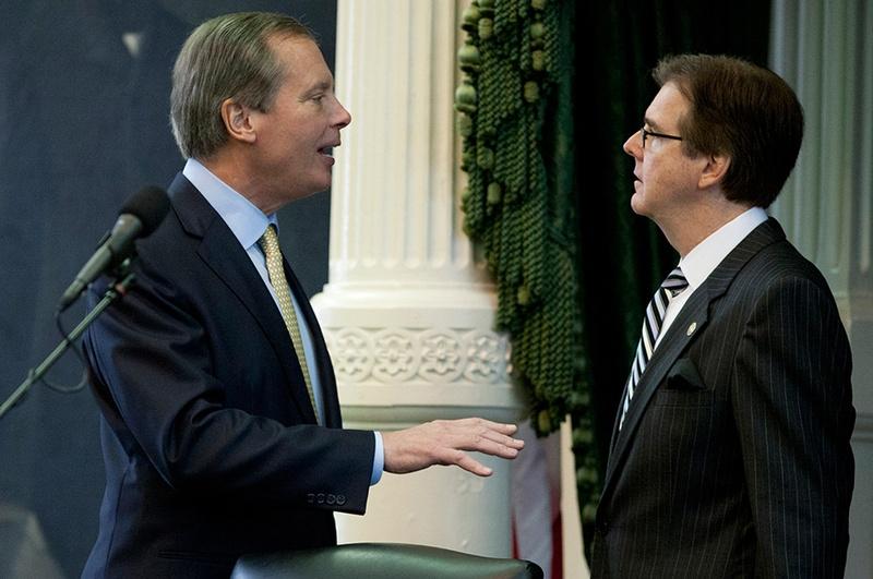 State Sen. Dan Patrick (Right), R-Houston, listens to Lt. Gov. David Dewhurst during the 83rd legislative session on Jan. 9, 2013.