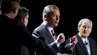 Lt. Gov. David Dewhurst and former Dallas Mayor Tom Leppert, right, at a U.S. Senate candidate debate on Jan. 12, 2012.
