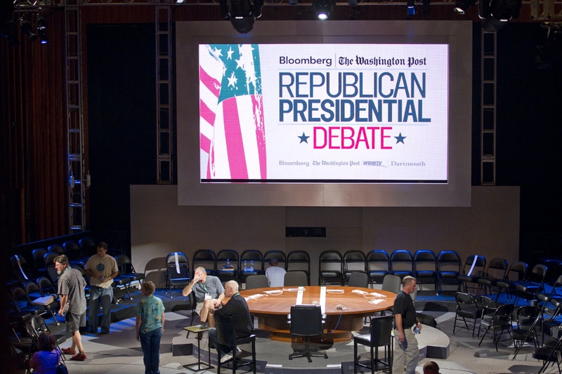 The set at Dartmouth College in Hanover, N.H. on Oct. 10, 2011, the night before Rick Perry's fourth Republican presidential debate.