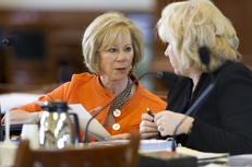 Sen. Florence Shapiro (l), R-Plano, visits with Health & Human Services Committee chairman Sen. Jane Nelson on May 3, 2011.