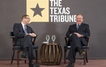 Texas Tribune editor Evan Smith, l, shares a laugh with Texas A&M Chancellor John Sharp at Trib Live on September 29, 2011.
