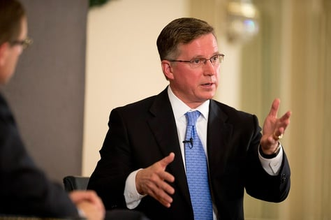 Chairman of the Railroad Commission, Barry Smitherman, talks with Evan Smith at TribLive on December 13, 2012.