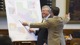 State Rep. Burt Solomons, R-Carrollton, left, and Rep. Mike Villarreal, D-San Antonio, debating congressional redistricting maps on the House floor on June 14, 2011.
