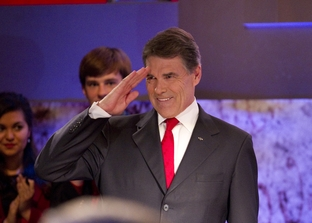 Texas Governor at the Republican presidential debate in New Hampshire on October 11, 2011.
