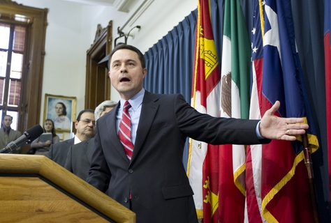 Agriculture Commissioner Todd Staples speaks to the press about recent border security issues at the Texas Capitol on March 10, 2011