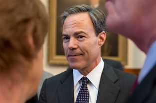 Texas House Speaker Joe Straus chats with supporters after giving his acceptance speech at the opening day of the 83rd Texas Legislature on Jan. 8, 2013.