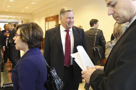 Tom Suehs waiting outside Senate committee hearing on January 31, 2011.