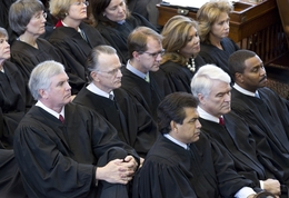 Texas Supreme Court justices listen to the State of the Judiciary speech on February 23, 2011.