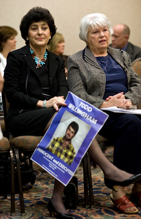 September 17, 2010 - (l-r) Judy Willingham Cavner and Eugenia Willingham, both relatives of Cameron Todd Willingham, attend the Texas Forensic Science Commission meeting on September 17, 2010 in Dallas, Texas.