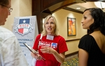 Jana McMillan speaks with Katrina Pierson, right, and another attendee of The Waco Tea Party's Grassroots Survival School on August 13, 2011.