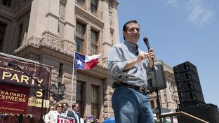 U.S. Senate candidate Ted Cruz speaks at the Texas Tea party rally Sunday May 6, 2012 at the Texas Capitol.  Cruz is trailing frontrunner David Dewhurst in the race to replace current Sen. Kay Bailey Hutchison.