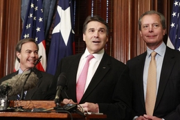 Governor Rick Perry, Speaker Joe Straus and Lt. Governor David Dewhurst after their first weekly breakfast meeting saying they will work together on the state budget.