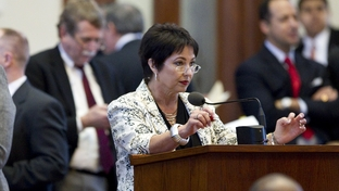 State Rep. Vicki Truitt, R-Southlake,  debates from the back microphone in the Texas House on May 13, 2011.