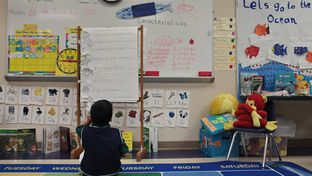 A Pre-Kinder student works to learn syllables and word identification in his class, part of the Summer Bilingual Academy at Wilson Elementary School, in San Antonio, TX on Tuesday, June 26, 2012.