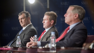 Dallas Mayoral candidate David Kunkle speaks during a televised debate flanked by opponents Mike Rawlings and Ron Natinsky at Southern Methodist University on April 19 2011.